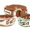 18K Gold-Plated Brass and Leather Bracelets