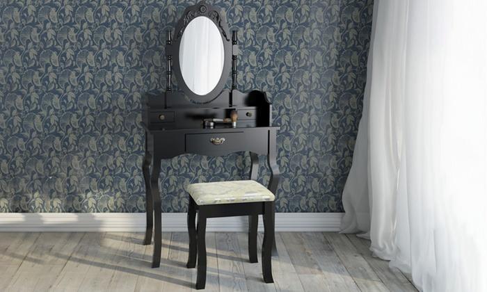 Toeletta con specchio e sgabello groupon goods