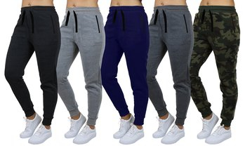 4-Pack Women's Loose-Fit Fleece Joggers (S-2XL). Plus Sizes Available.