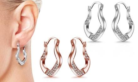 One or Two Pairs of Philip Jones Vintage Hoop Earrings with Crystals from Swarovski®