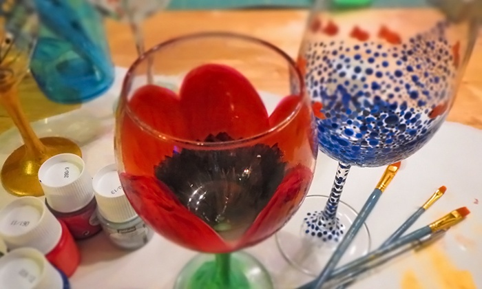 Wine glass painting class miy ceramics groupon for Groupon wine and paint