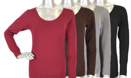 Women's Seamless Long Sleeve Fleece Thermal Shirt