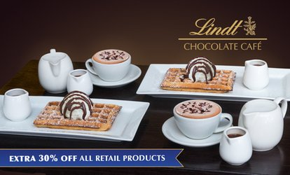 Lindt Signature Waffles and Hot Drinks for two people for $24.70, Choice of 6 Locations (Up to $49.40 Value)