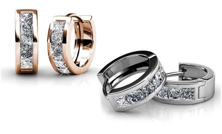 Boucles d'oreilles My Charms plaqué or 18 carats et ornées de cristaux Swarovski®