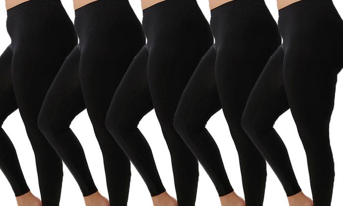 5-Pack of Plus-Size Leggings | Groupon Goods