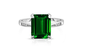 4.00 CTTW Emerald Sterling Silver Ring by Valencia Gems