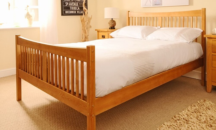 Handmade Shaker Bed Frame with Optional Mattress and Trundle ()