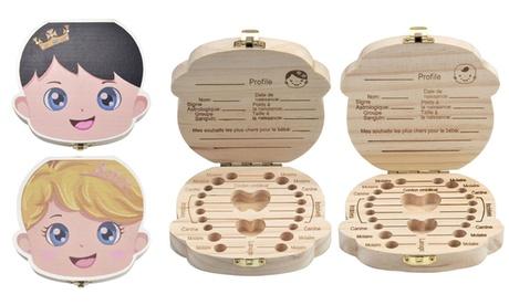 1 ou 2 boîtes à dents de lait et cheveux en bois, modèle pour fille et garçon