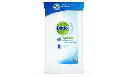 Four, Eight or 12 Packs of 84 Dettol Antibacterial Wipes