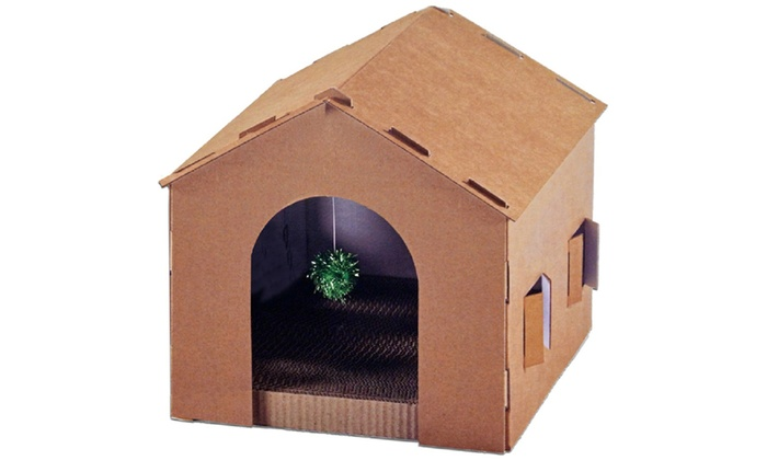 Cat House Scratcher With Toy