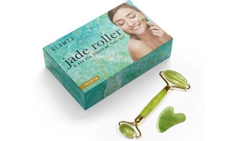 Hasta 3 set con rodillo facial de jade y Gua Sha