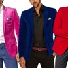 Suslo Couture Men's Slim Fit Velvet Sport Coat with Free Bow Tie