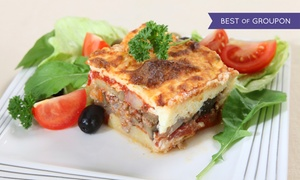 Akropoli: Menu greco con antipasto, dolce e vino per 2 o 4 persone al ristorante Akropoli (sconto fino a 63%)