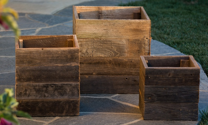 pacific royal reclaimed wood square planter boxes pacific royal reclaimed wood square planter boxes