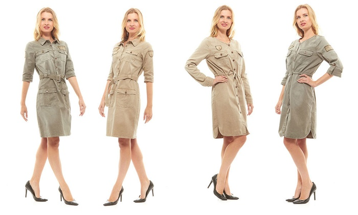 Very best Red Jeans Women's Safari-Style Military Fatigue Dress with Belt  AS79