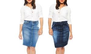 Zelle Belle Women's Missy Classic Denim Skirt