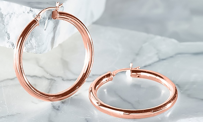 247a150f9 18k Rose Gold Plated Sterling Silver 20mm Classic French Lock Hoops.  Sterling Silver Hoop Earrings