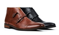 Gino Vitale Mens Monk-Strap Chukka Boots (Black or Brown)