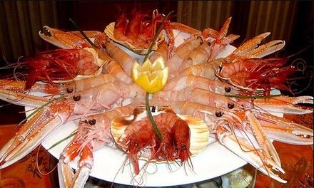 Menu di pesce di 4 portate e vino a 69,90€euro