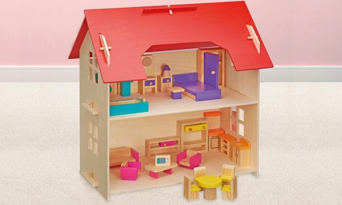 maison de poup e en bois groupon shopping. Black Bedroom Furniture Sets. Home Design Ideas