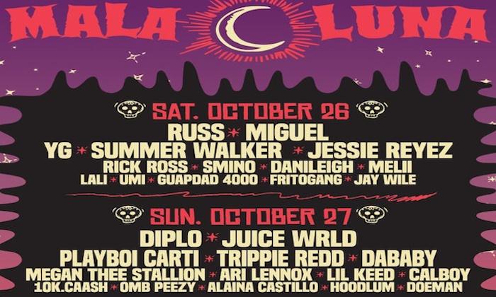Mala Luna Music Festival 2019 Feat Russ Diplo Miguel Juice Wrld Yg Playboi Carti And More In San Antonio Tx Groupon