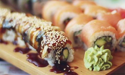 Menu sushi e bottiglia di vino