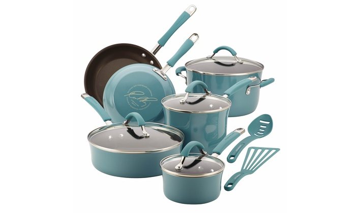 Rachael Ray Cucina Hard Enamel Nonstick Cookware Set (12-Piece)