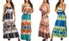 Women's Junior Spaghetti-Strap Tie-Dye Maxi Dress: Women's Junior Spaghetti-Strap Tie-Dye Maxi Dress