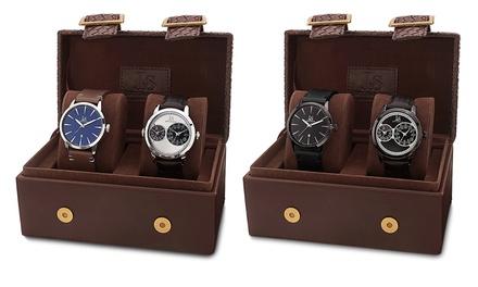 Joshua & Sons Men's Quartz Leather Strap Watch (2-Pack)