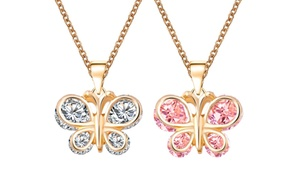 Kids' Crystal Butterfly Pendants in 18K Gold Plating