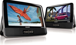 "Philips 9"" Portable Dual DVD Player (Refurbished)"