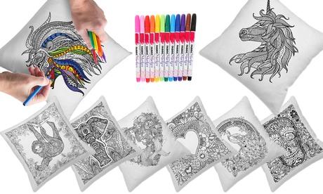 Fundas de cojines coloreables con 12 lápices de colores desde 9,99 € (83% de descuento)