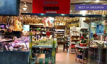 Picoteo para 2 o 4 con ración de jamón ibérico, pa amb tomàquet y botella de vino desde 12,90 € en 2 locales Jamón Jamón