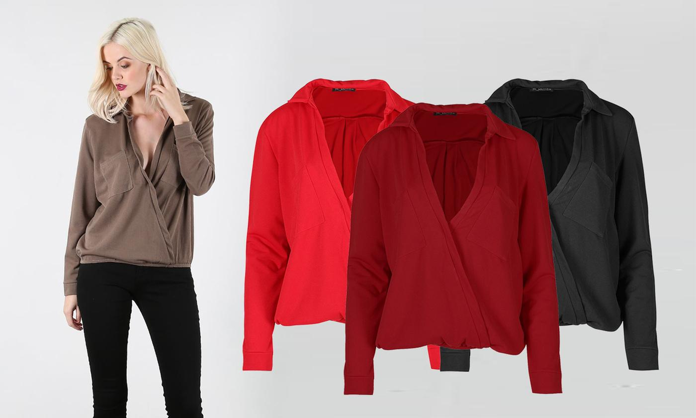 Oops Long Sleeve Front Pockets Collared Top