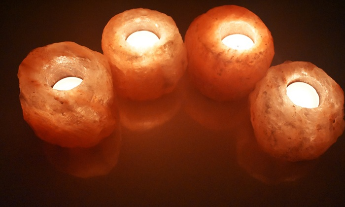 One or Two Sets of Four-Piece Salt Candle Holders for £9.98