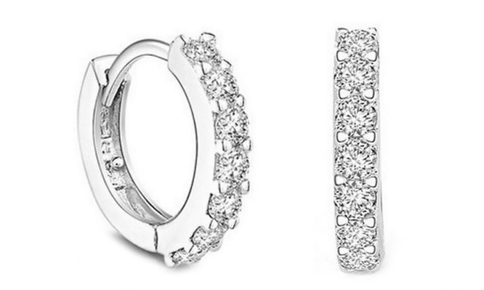 One or Two Pairs of Sterling Silver Plated Hoop Earrings with Crystal Elements for £3.98
