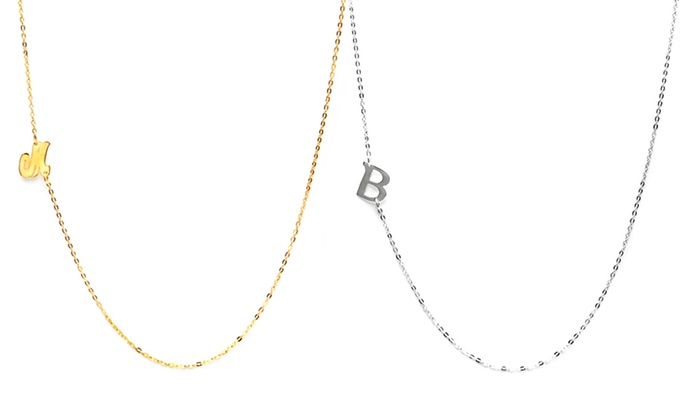 NameJewelrySpot: $19.95 for a Custom Asymmetrical Initial Necklace from NameJewelrySpot ($89.99 Value)