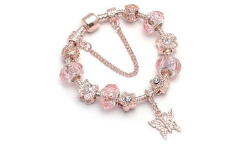 18K Rose Gold Plated Crystal Charm Bracelet with Swarovski Elements