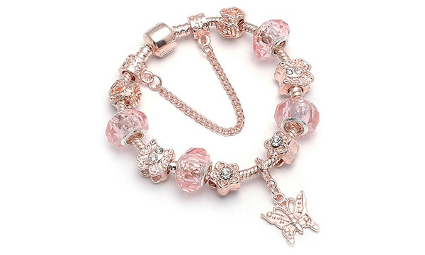 81a5a16b5d 18K Rose Gold Plated Pink Crystal Butterfly Charm Bracelet Made With ...