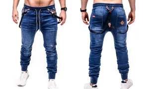 Pantalon homme molleton effet jean