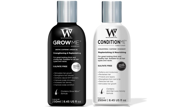 Watermans Grow Me Shampoo or/and Condition Me Conditioner with Optional Elixir Boosting Hair Growth Serum for £9.95