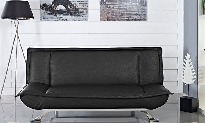 Oakland bonded leather sofa bed groupon for Sofa bed groupon