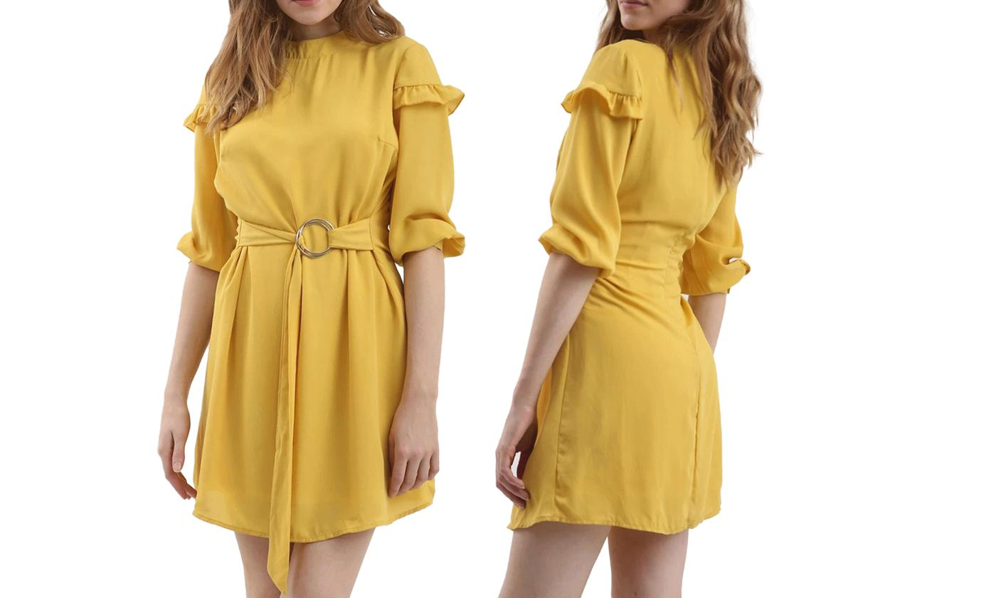 Oops Plain Ring Belted 3/4 Sleeve Shift Dress