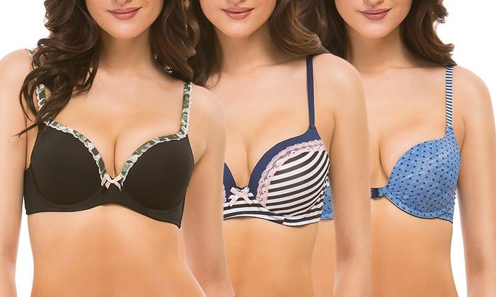 Yandy Women's Polka-Dot, Contrast Camo, and Nautical Lace Bras