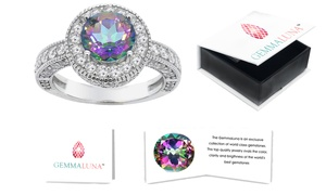 Gemma Luna Genuine Topaz Halo Ring in 18K White Gold Plating