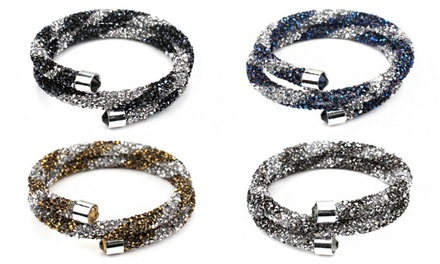 One (AED 49), Two (AED 89) or Four (AED 149) Two Tone Wrap Bracelets with Crystals from Swarovski®