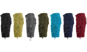 Galaxy by Harvic Men's Belted Multi Pocket Cargo Shorts (2-Pack)