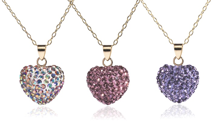 14k solid gold heart pendant necklace made with swarovski elements aloadofball Images