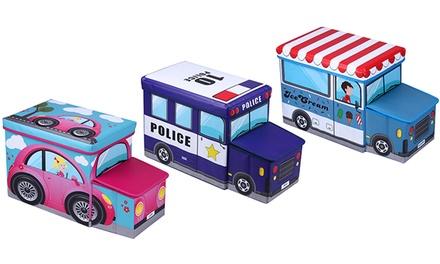 קופסאות אחסון דקורטיביות לחדר הילדים בעיצוב רכבים, עם מכסה מרופד לישיבה