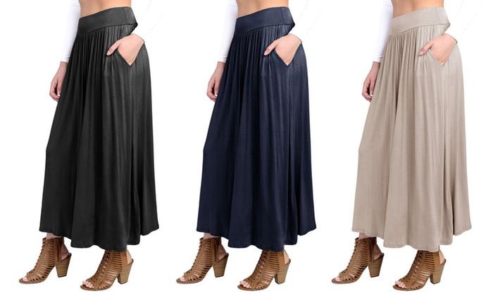 d25c37a85e FACA Women's High-Waist Shirring Maxi Skirt with Side Pockets   Groupon